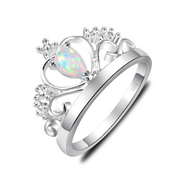 Wholesale 10 Pieces Nice Classic Shine White Fire Opal Gems Sterling Silver Crown Rings Russia American Australia Weddings Rings Gift
