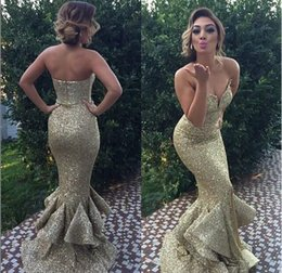 Shining Gold Sequins Ruffle Mermaid Train Long Formal Evening Dresses No Sleeve Sweetheart Neckline Floor Length Gorgeous Party Prom Gowns