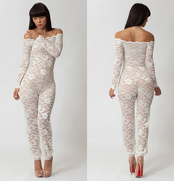 Wholesale Sheer Lace Jumpsuits - 2014 HOT SALE Summer Women Sexy Off Shoulder Lace Embroidered See Through Sheer Clubwear Disco Dancewear Jumpsuit Catsuit Romper