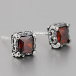 925 Sterling Silver Square Ruby CZ Stone Fashion Stud Earring 8R017