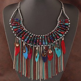 Costume Jewelry Big Brand Statement Necklace Tassel Feather Necklaces & Pendants Handmade Beads Maxi Necklace Women