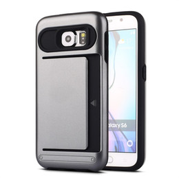 Wholesale s7 edge case Hybrid in slide card baby bear Armor cases ID card slot robot cover for Samsung Galaxy s4 s5 s6 edge plus s7 edge plus New