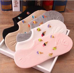 Acheter en ligne Crème glacée animale-En gros-2015 style automne glace Candy couleur pantoufles en tricot bouche superficielle femmes invisibles chaussettes courtes pantoufles 20 paires Livraison gratuite