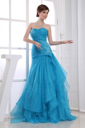 Wholesale Affordable Sweetheart Lace Appliques Tiered Organza Cascading Ruffles Personalized Prom Gowns Blue Plus Size Full Refund Guarantee