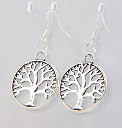 Wholesale 2017 Antique Silver Tree Of Life Charm Earrings Silver Fish Ear Hook Chandelier E463 x40mm
