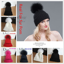 Wholesale-Adult Lady Genuine New Brand Fashion Cable Striped Warm Crochet Knitted Natural Real Fox Fur Pompom Winter Hat For Women