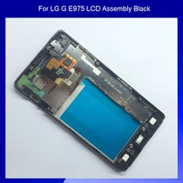 Wholesale-100% New For LG Optimus G E975 E973 Display LCD Screen and Touch Screen Digitizer Assembly With Frame Black