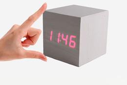 Wholesale Cheap Cube Wooden LED Alarm Clock Temperature Sounds Control display electronic desktop Digital Wooden table clocks Creative home decor gift