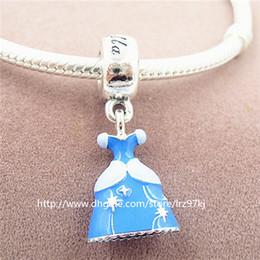 New 925 Sterling Silver Cinderella Dress Dangle Charm Bead with Enamel Fits European Jewelry Bracelets Necklaces & Pendants