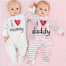 100% Cotton Baby Boys Girls Long Rompers I Love Daddy Mummy Footcover Stripe One-Piece Pajamas Overall Shirts Tights