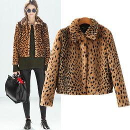 SZ24503 Autumn Jacket 2015 Fashion Faux Fur Coat Fleece Leopard Animal Print Jacket Outerwear Long Sleeve Lapel Collar Thick