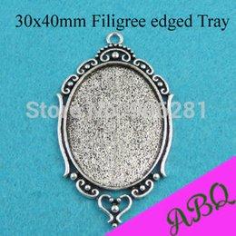 Wholesale Fashion Jewelry Pendants x40mm Antique Silver Oval Pendant Trays Necklace Pendant Cameo Setting Blank Pendant Bezel