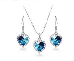 Wholesale Romantic Heart Of Ocean Pendant Necklace Crystal Trimed Blue Silver Fashion Jewellery Free Earrings