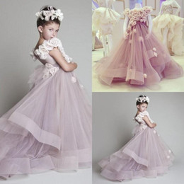 New Arrival Krikor Jabotian Children Flower Girl Dresses Jewel Neck Tiered Kid Gown Sweep Tran Tulle Little Girl Pageant Dress For Wedding