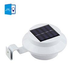 Wholesale-[DBF] LED Solar Lamp Sensor Waterproof Solar Light 3 LEDs Street Light Outdoor Path Wall Lamp Security Spot Lighting
