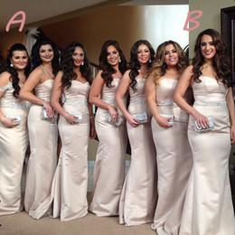 delicate champagne gold mermaid bridesmaid dresses long floor with sequin beaded plus size straps bridesmaids formal occasion dress