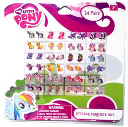Wholesale Sheets pairs sheet My Little Pony Mixed Cartoon Pairs Of Girl Stick On Earrings Ears Stick