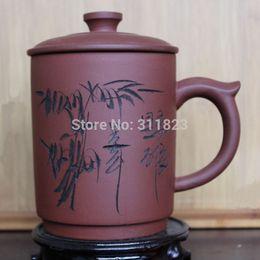 Wholesale Promotion Yixing Large Size Purple Clay Tea Cup Zisha Teacup Purple Grit Tea Set
