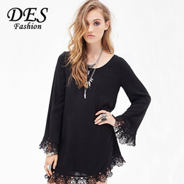 Women Summer Chiffon Dress 2015 Vestidos Backless Black Long Sleeve Short Dresses Casual Loose Flare Sleeve Patchwork Lace Dress