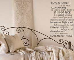 """Wholesale-"""" Love Is Patient Love Never Fails """" Quote Vinyl Wall Decal Sticker"""