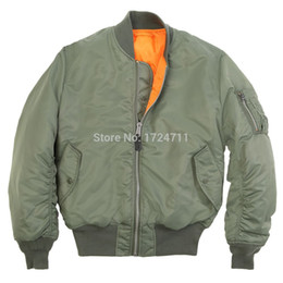 Wholesale Fall FASHION GENUINE ALPHA INDUSTRIES MA1 MA FLYING JACKET MA USAF FLIGHT JACKET GREEN BLACK GREY S XL
