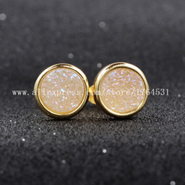 Wholesale mm K Gold Plated Round AB Color Natural Agate Titanium Druzy Stud Earrings Fashion Jewelry Geode Earrings