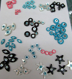 Wholesale free ship Assortment Genuine MOP shell evil eyes round butterfly star disc clove charm beads mm
