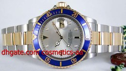 Luxury High quality Men Watches Silver Serti Diamond Dial Yellow Gold & Steel 16613 Automatic Men's WATCH
