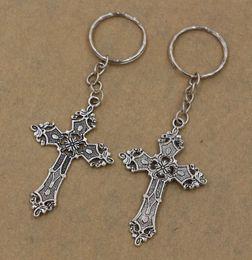 Hot Sell ! 20pcs DIY Accessories Material Tibetan Silver Zinc Alloy Cross Band Chain key Ring DIY Jewelry