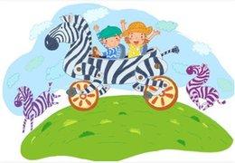 Wholesale Children And Zebra Cycling Adesivo De Parede Infantil Enfeites Para A Casa Cartoon Kids Wall Stickers Home Decor
