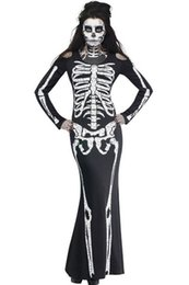 Wholesale Womens Black Adult Halloween Costumes Party Sexy Clubwear Costume Fancy Long Skeleton Adult Skull Adult Fancy Halloween Ideas