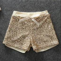 Wholesale Sequin Elastic Wholesale - 2016 Summer New Girls Shorts Cotton High-grade Pink Golden Sequins Shorts Baby Girl Shorts 2-6y Children's clothing