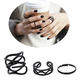 3Pcs set Punk Retro Personality Multilayer Hollow Exaggerated Geometry Black Metal Cross Rings Band Knuckle Ring Set For Women