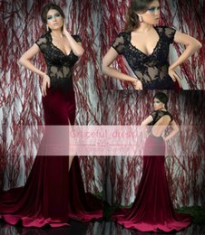Promotion robe avant serrure Vente Hot Black Lace robe de soirée formelle Sheer 2015 Sexy col en V à manches courtes Keyhole Retour Perles Side de Split Glitz Mermaid piste robe BS71709