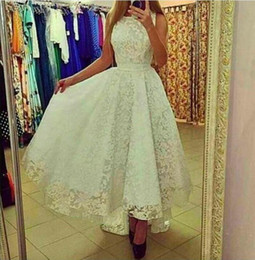High Low Lace Evening Prom Dresses A Line Ankle Length Party Gowns 2015 Custom Arabic Dresses High Quality Special Occasion Dress