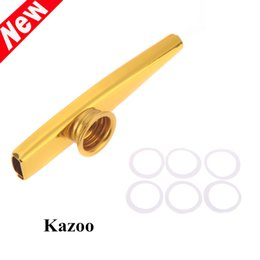 New Arrivel Musical Instruments Golden Kazoo Aluminum Alloy Metal with 5pcs Flute Diaphragm Gift for Kids Music Lovers