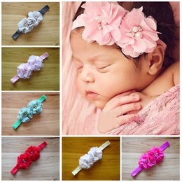 Infant Headbands 2015 Fashion Girl Chiffon Pearl Flower Headbands Children Hair Accessories Toddler Hair band sweet girl Party Headdress