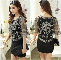Wholesale-Summer 2015 Women'S Short Knitting Small Shawl Outside The Ride Short-Sleeved Cardigan Jacket Big Yards Mesh Disk Flowers Coat