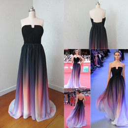 2015 Real Photo Backless Elie Saab Cheap Evening Dresses Gradient Strapless Print Chiffon Prom Dress Lily Collin Party Formal Gown Plus Size