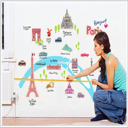 Wholesale bedroom decoration France beautiful green city wall stickers living room TV sofa backdrop bedroom children s room stickers AY9088