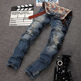 New Autumn Jeans Men Denim Pants Ripped Pants Destroyed Long Straight Trousers Slim Fit Casual Hole Jeans Pants