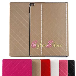 Wholesale For ipad air ipad Luxury Check Grid Leather Flip Stand Case Cover with Bright Surface Card Holder For Apple iPad6 air2