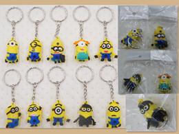 Wholesale 100pcs cm pvc minion Keys Chain Kids Boys Girls D Despicable Me Minions Action Figure Keychain Keyring mixed more designs Randomly