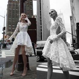 High Low Inbal Dror Wedding Dresses Illusion Bateau Long Sleeve Backless Lace Wedding Gowns A-Line Appliqued Bridal Dress