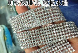 Wholesale mm rows meter Crystal Clear Stones Silver Plated A Hot Fix Rhinestone Mesh Trimming Aluminium base Pasted Sew on Net Drill