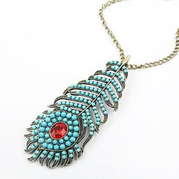 Wholesale-N190 Bohemia Retro style Blue Peacock Feathers long chain necklace Woman chain fashion necklace#129