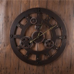 Wholesale Bronze Ring Reloj Wall Clocks Decor Antique Classical Eueope American Wall Clocks Large Metal Round Quartz Wall Clocks GZ16013