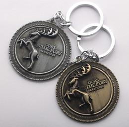 Wholesale NEW Hot Cartoon Game movie Key Car keychian Game of Thrones House Baratheon badge keychain wedding favors keychain cc123