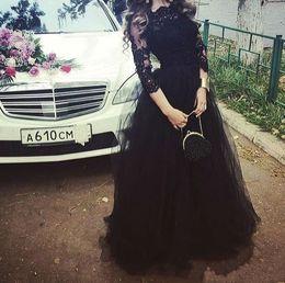 Black Modest Evening Dresses with Long Sleeves 2019 Tulle Appliqued Floor Length Celebrity Formal Dress Long Prom Dress New
