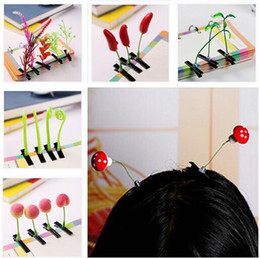 Wholesale New Lovely Novelty Plants Grass Fruit Hair Clips Headwear Small Bud Antenna Hairpins Lucky Grass Bean Sprout Mushroom Party Hair